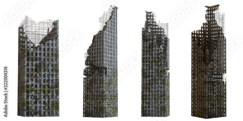Fototapeta collection of ruined skyscrapers, tall post apocalyptic buildings isolated on wh