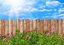 Wooden Garden Fence At Backyar...