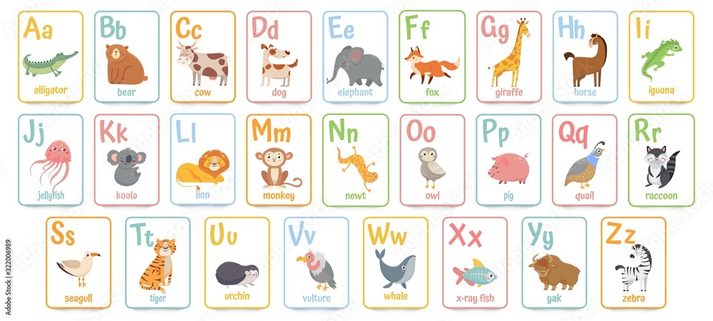 Fototapeta Alphabet cards for kids. Educational preschool learning ABC card with animal and letter cartoon vector illustration set. Flashcards with cute characters and english words placed in alphabetical order.