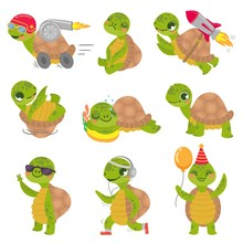 Turtle Child. Cute Little Green Turtles Mascot, Fast Rocket Tortoise And Sleeping Turtle Vector Illustration Set. Collection Of Funny Baby Reptiles Or Reptilians. Bundle Of Happy Wild Exotic Animals.
