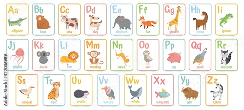 Fototapeta Alphabet cards for kids. Educational preschool learning ABC card with animal and letter cartoon vector illustration set. Flashcards with cute characters and english words placed in alphabetical order. obraz