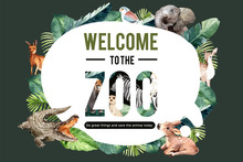 Zoo Frame Design With Crocodil...