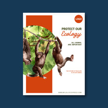 Zoo Poster Design With Monkey,...