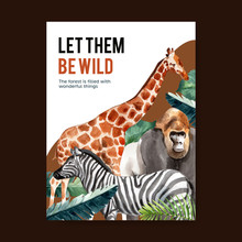 Zoo Poster Design With Monkey, Zebra, Giraffe Watercolor Illustration.