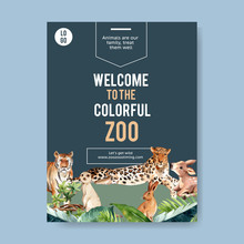 Zoo Poster Design With Tiger, ...