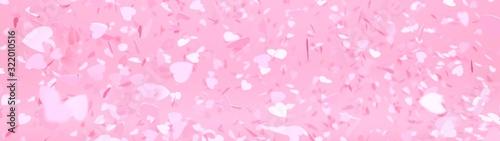 bannière pleine de coeurs sur fond rose Wallpaper Mural
