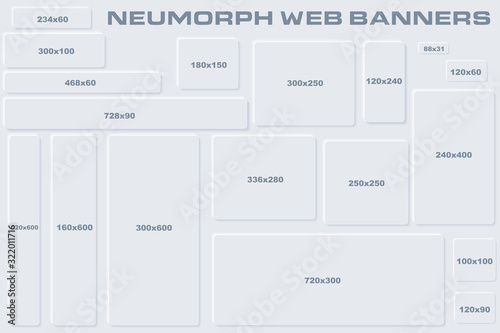 Fotografía Standard Size Neumorphic UI Web Banners Templates