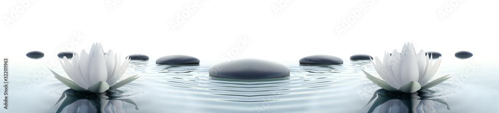 Fototapeta Lilie wodne z kamieniami