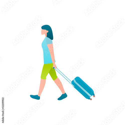 Tourist at the airport, vector flat illustration of weekend concept Fototapet