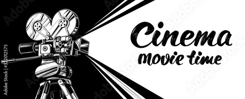 cinema logo festival, vintage old movie camera, , calligraphic text hand drawn v Canvas Print
