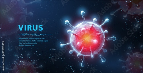 Obraz Virus. Abstract vector 3d viral microbe on blue background. Allergy bacteria, medical healthcare, microbiology concept. - fototapety do salonu