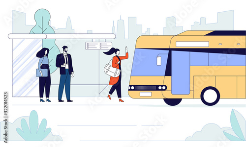 Passengers at bus stop flat banner vector template Fototapet