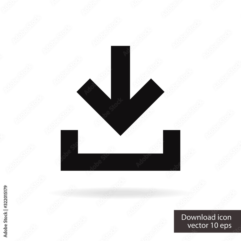 Fototapeta Download vector icon isolated on white background for install sign, upload button, load symbol, web site or mobile app. 10 eps