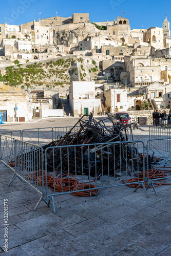 фотография Bond 25, Scenography elements used for explosion and fire scenes from the movie No Time to Die in Sassi, Matera, Italy