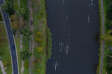 Overhead View Of Early Morning Rowers On The Yarra River In Melbourne Australia