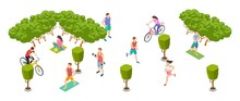 Sports People. Isometric Men Women Train On Nature. Vector Cyclists, Athletes, Runners, Yoga Characters. Woman And Man Activity, Character Healthy Training Illustration