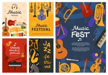 Music Festival. Jazz Concert, Musical Instruments Poster Design. Guitar And Piano, Saxophone Background. Vector Open Air Song Event Flyers. Illustration Banner, Musical Guitar And Piano Instrument