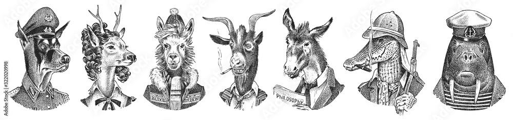 Fototapeta Animal characters set. Smoking Goat Llama skier Deer lady Walrus Crocodile Dog Donkey Alpaca. Hand drawn portrait. Engraved monochrome sketch for card, label or tattoo. Hipster Anthropomorphism.