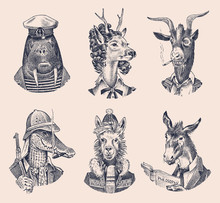 Animal Characters Set. Deer La...