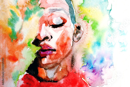 Photo Beautiful African woman portrait in watercolor with splatter