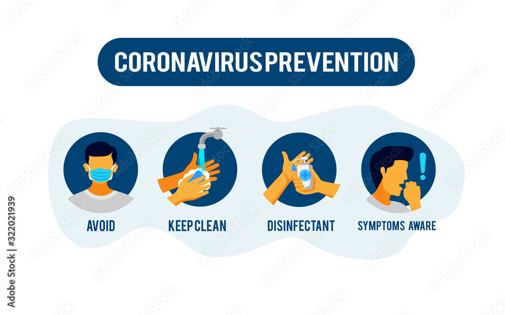 Fototapeta Prevention information illustration related to 2019-nCoV Coronavirus