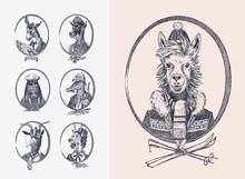 Animal Characters Set. Llama Skier Deer Lady Walrus Crocodile Smoking Goat Dog Donkey Alpaca. Hand Drawn Portrait. Engraved Monochrome Sketch For Card, Label Or Tattoo. Hipster Anthropomorphism.