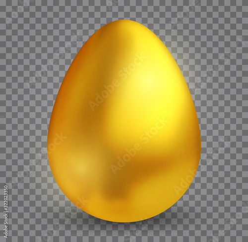 Fotografie, Obraz Realistic 3d golden egg with shadow isolated on transparent background