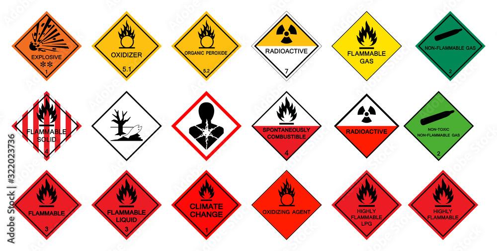 Fototapeta Warning transport hazard pictograms,Hazardous chemical danger Symbol Sign Isolate on White Background,Vector Illustration