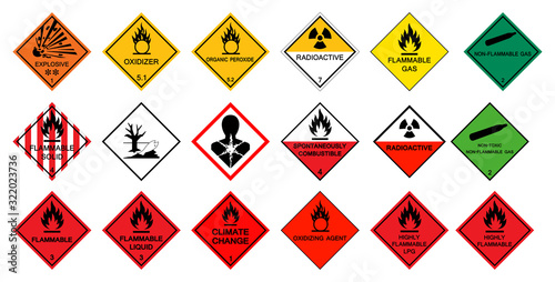 Fototapeta Warning transport hazard pictograms,Hazardous chemical danger Symbol Sign Isolate on White Background,Vector Illustration obraz