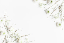 Flowers Composition. White Flowers On White Background. Spring Concept. Flat Lay, Top View, Copy Space