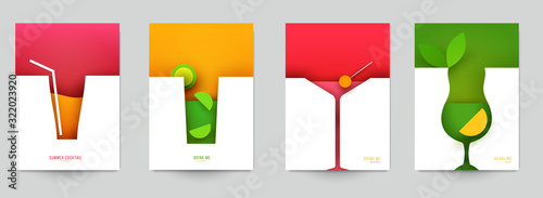 Set of abstract silhouette cocktails with alcohol or juice in minimalistic geometric flat style. Creative colorful composition. Concept for branding menu, cover, flyer, banner. Vector illustration. - 322023920