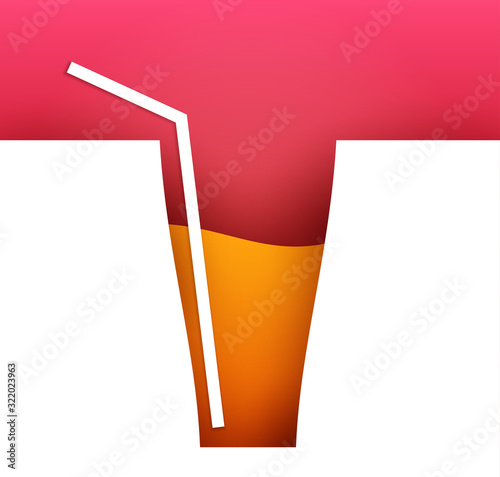 Abstract silhouette of glass with cocktail or juice in trendy minimalistic geometric flat style. Creative colorful composition. Concept for branding menu, cover, flyer, banner. Vector illustration. - 322023963
