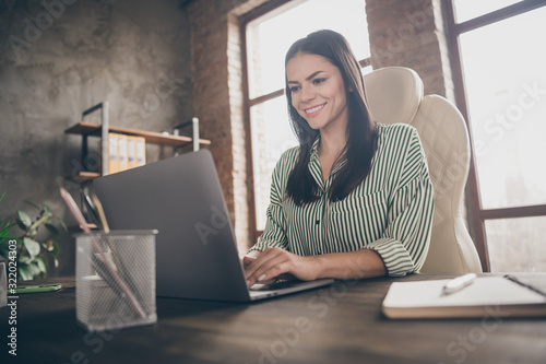 Photo of attractive latin business lady notebook table chatting colleagues read Canvas Print