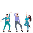 drawing dancing girls white background vector