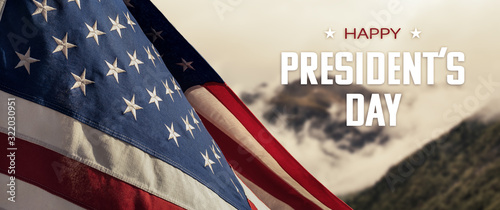 Obraz American National Holiday. US Flag with American stars, stripes and national colors. President's Day. 4th July. Veterans Day. - fototapety do salonu