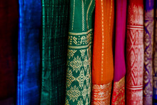 Scarves For Sale At The Market, Digital Photo Picture As A Background , Taken In Luang Prabang, Laos, Asia