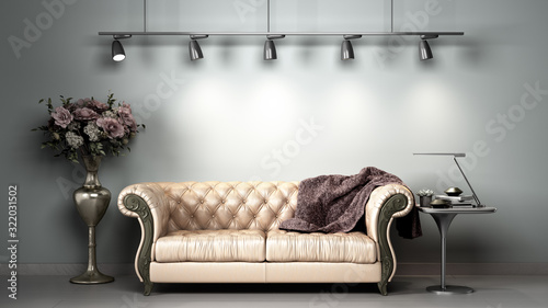 Obraz simple room interior render presentation with white leather sofa  3d render image - fototapety do salonu