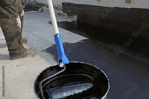 Bitumen primer for a flat roof sealing Canvas Print