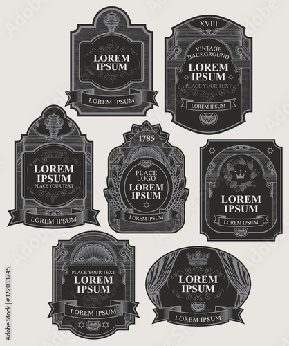 Obraz na plátně Vector set of ornate labels in black and silver colors in retro style