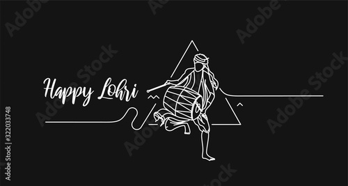 Obraz na plátně Happy Lohri holiday festival of Punjab India, vector illustration