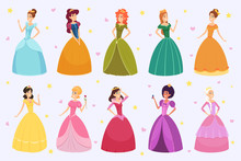 Elegant Fairytale Woman. Cartoon Young Beautiful Princess Fantasy Fashioned Childrens In Colored Costumes And Dresses Vector. Character Fairytale, Lovely Costume, Dress Glamour Illustration
