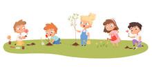 Children Planting. Eco Green Protection Kids Gardening Natural Plants Trees Vector Cartoon Set. Illustration Gardening, Child Volunteer Growing