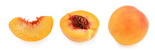 Peach Slices Isolated On White...