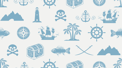Vector seamless pattern on the theme of sea travel and pirate adventures with sailboats, lighthouses, Jolly Rogers, treasure chests and more. Suitable for background, Wallpaper, wrapping paper, fabric