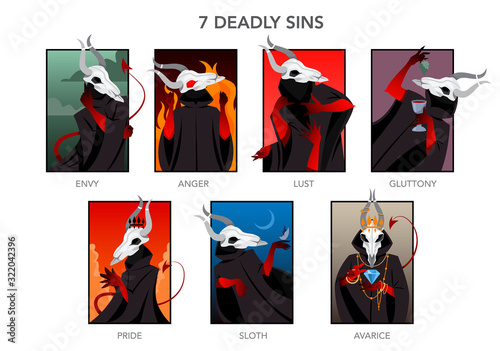 Seven deadly sins set Canvas Print