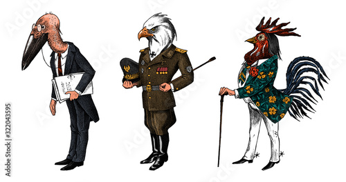 Bird man, Bald eagle and marabou head in military uniform Canvas Print