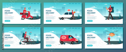 Food delivery web banner set. Online delivery concept. Canvas Print