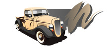 Vintage Pickup. Vector Illustration. Shown In Perspective. Biege Body And Black Fenders.