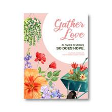 Flower Garden Poster Design With Hibiscus, Leaf, Flowerpot Watercolor Illustration.