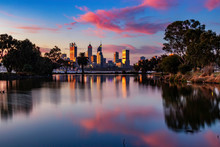 Cotton Candy Clouds, Pink Sky Sunset Reflections At Perth